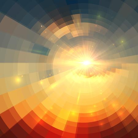 circulos concentricos: Tecnología círculo vector de la salida del sol Fondo abstracto del mosaico Vectores