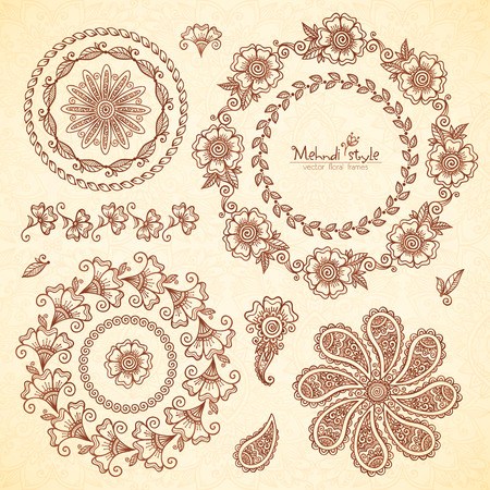Vector Indian mehndi style round frames set