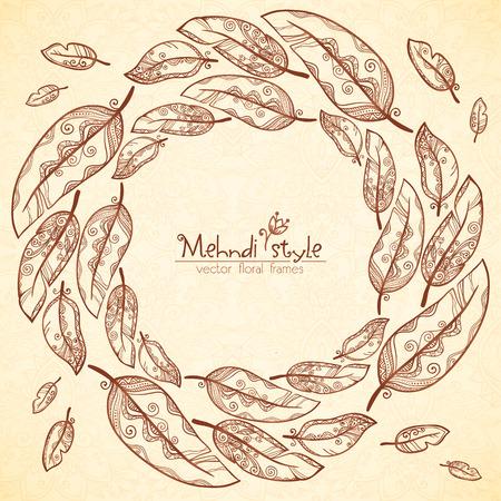 mendi: Vintage vector feathers ethnic frame in Indian mehndi style Illustration