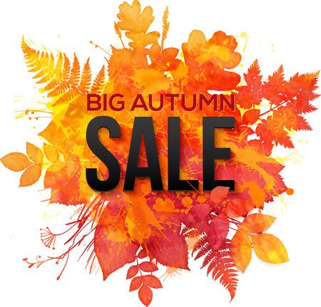 Watercolor autumn orange foliage vector sale banner