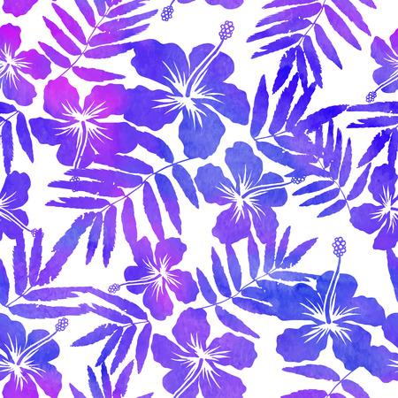 impresión: Acuarela vector siluetas hibisco púrpura sin patrón