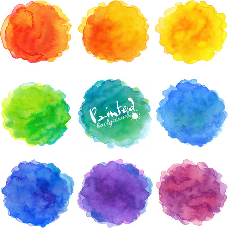 Watercolor rainbow colors round stains vector set Çizim
