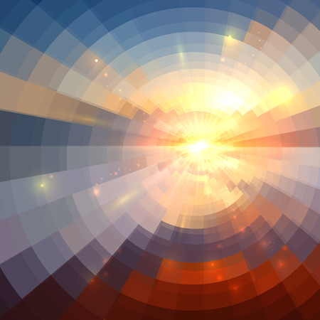 Abstract sunset light round technology mosaic vector background