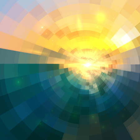 Abstract blue and yellow circle technology mosaic vector background
