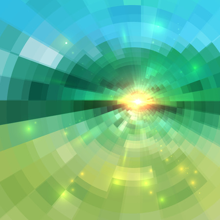 sun flare: Abstract green technology concentric mosaic vector background Illustration