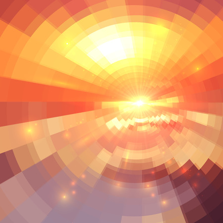 Abstract orange technology concentric mosaic vector background