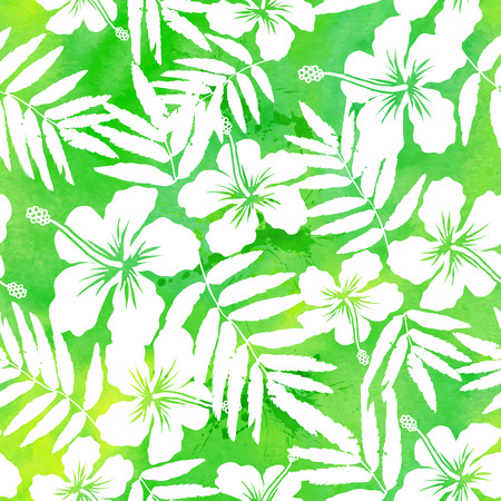 Green watercolor hibiscus silhouettes vector seamless pattern Vectores