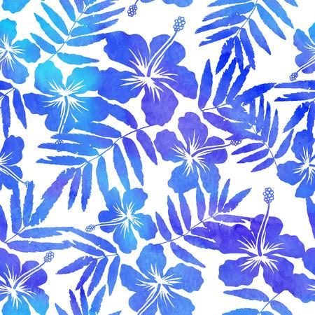 impresión: Acuarela vector hibisco siluetas azules sin patrón