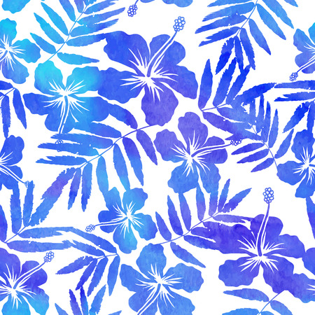 hibiscus background: Blue watercolor vector hibiscus silhouettes seamless pattern Illustration