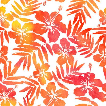 hibiscus: Modelo inconsútil de la acuarela roja de vectores siluetas de hibisco
