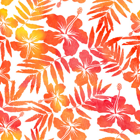 beautiful red hibiscus flower: Red watercolor hibiscus silhouettes vector seamless pattern