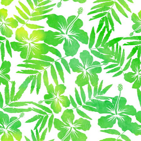 hawaiian shirt: Green watercolor hibiscus silhouettes vector seamless pattern Illustration