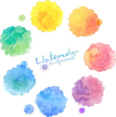 Rainbow pastel colors vector watercolor stains set