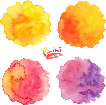 red circle: Warm colors vector watercolor round stains set