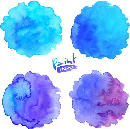 blue and green: Blue to purple colors vector watercolor round splashes set