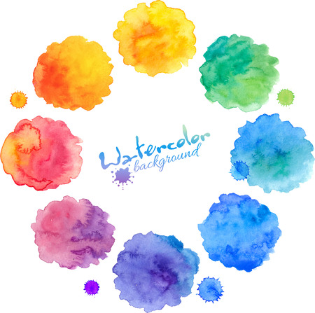 Watercolor rainbow colors round stains vector set Фото со стока - 42444105