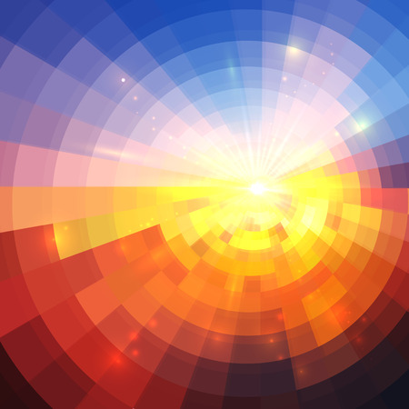 Abstract sunset effect technology concentric mosaic vector background Çizim