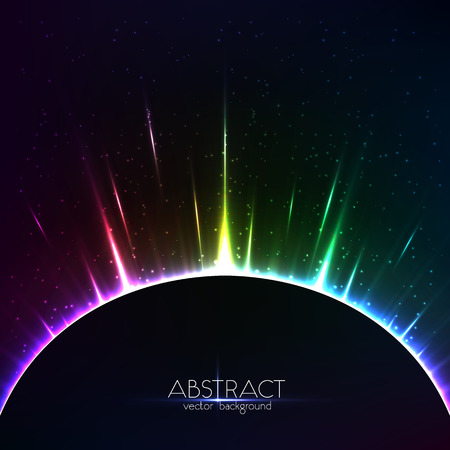 光ベクトル カラフルな宇宙球を輝く虹