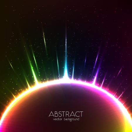 Rainbow shining light vector colorful cosmic sphere