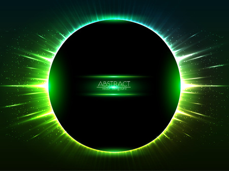 cosmic: Dark green vector shining cosmic round frame
