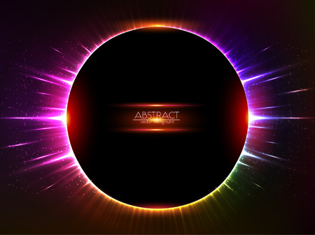 Dark red vector shining cosmic round frame Illustration