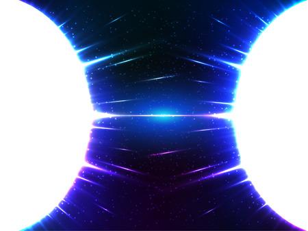 gravedad: Vector blanco brillante esferas cósmica gravedad con la luz azul alrededor