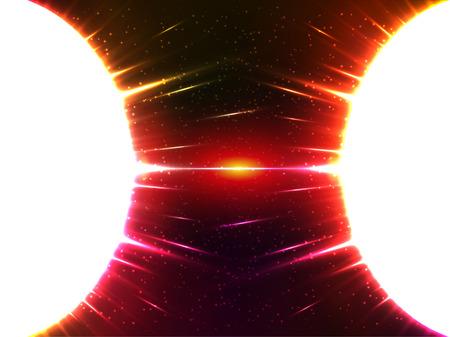 gravedad: Vector blanco brillante esferas c�smica gravedad con la luz roja alrededor
