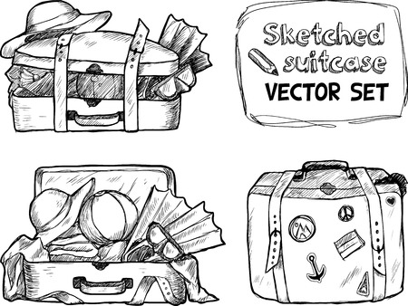 Hand-drawn suitcase sketches black and white vector set