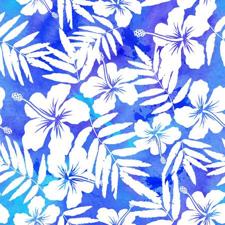 hibiscus: Azul vector de la acuarela del hibisco del verano patrón transparente