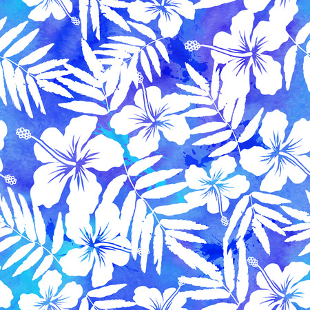 hibiscus: Blue watercolor vector hibiscus summer seamless pattern