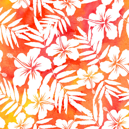 Red watercolor vector hibiscus summer seamless pattern Vettoriali