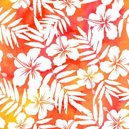 camisas: Vector de acuarela rojo hibisco verano sin fisuras patrón