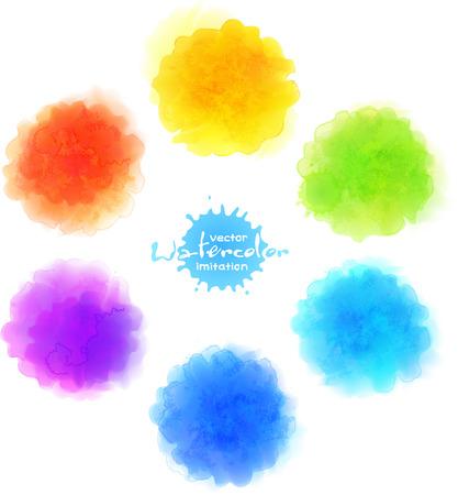 Vector watercolor imitation, rainbow colors paint stains set Vectores