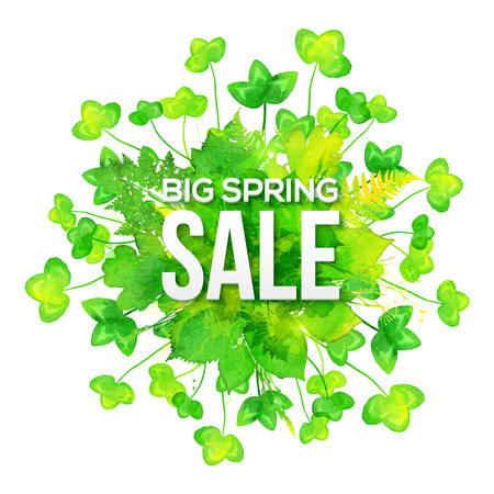 clovers: Green watercolor clovers vector spring sale banner Illustration