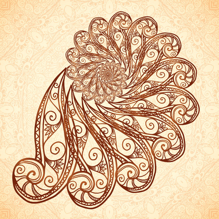 mendi: Vector fractal doodle spiral in henna tattoo style