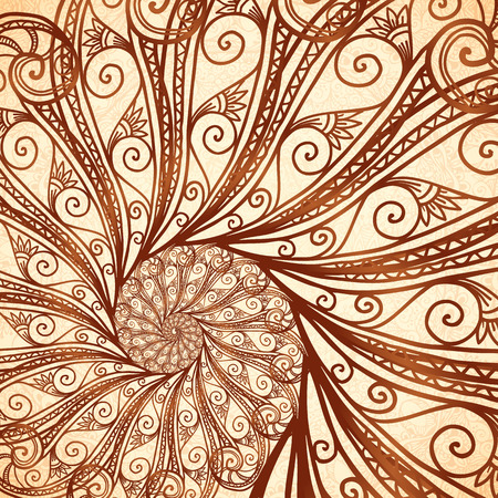 mendi: Vector fractal spiral background in henna tattoo style Illustration