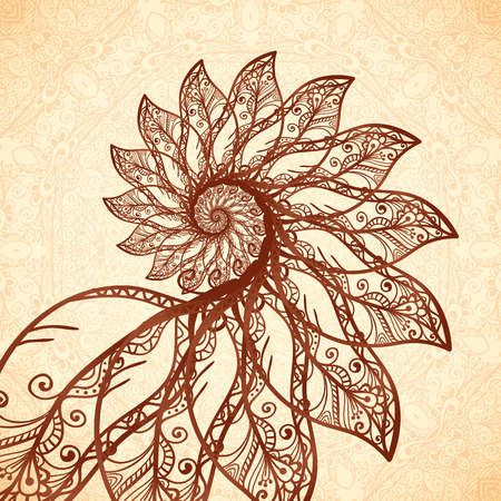 henna design: Vector fractal feathers spiral in henna tattoo style