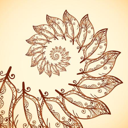 espiral: Vector plumas fractales espiral en el estilo de tatuajes de henna Vectores