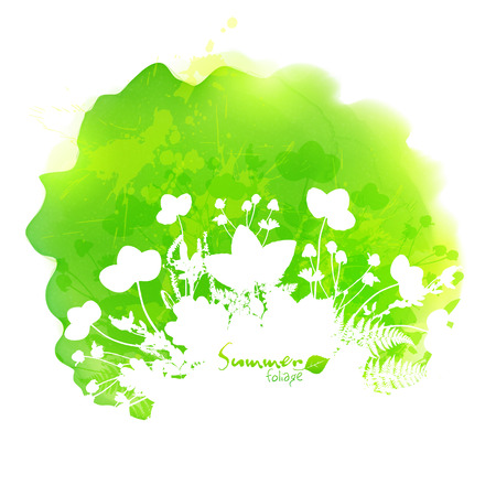 a stain: Green summer vector watercolor stain with white foliage silhouette
