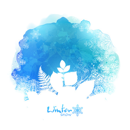 foliages: Blue isolated vector watercolor stain with white foliage and snowflakes silhouette