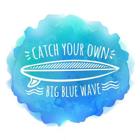 catch: Surfing board white logo on blue watercolor vector background
