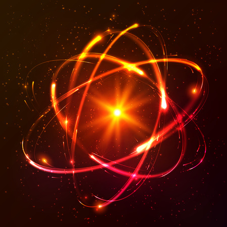 Red shining lights cosmic vector atom model Vectores