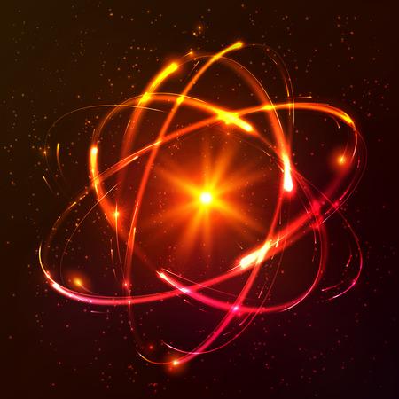 el atomo: Luces brillantes rojas modelo de átomo de vector cósmica