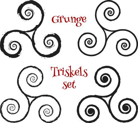 triskele: Grunge brush drawn vector isolated triskels set Illustration