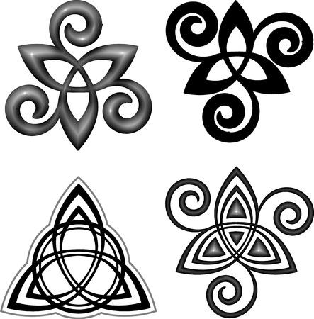 Vector celtic triskel modern style symbols set Vectores