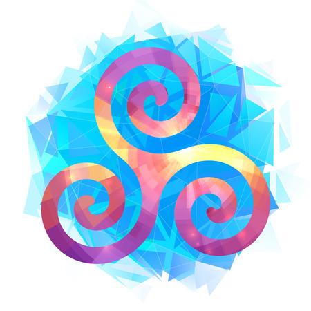 Colorful vector triskel on blue triangles modern background Illustration