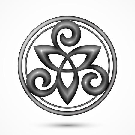 keltische muster: Vector Stein oder Metall Celtic Triskele Symbol