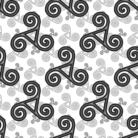 Black and white vector celtic triskels seamless pattern