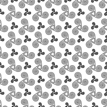 triskele: Black and white vector celtic triskels seamless pattern