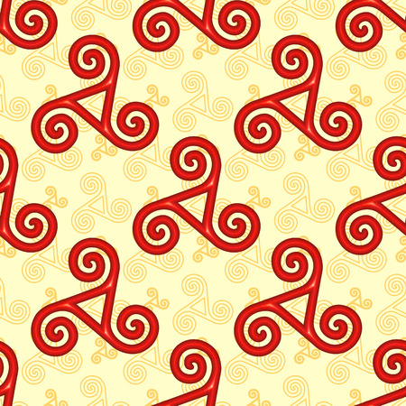 breton: Red and yellow celtic triskels seamless pattern Illustration